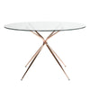 "Dining Tables - Euro Style EURO-02506RGLD-KIT Atos 48"" Round Dining Table with Clear Tempered Glass Top and Brushed Rose Gold Base 