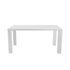 Abby Rectangular Parsons Style Dining Table in White High Gloss Lacquer