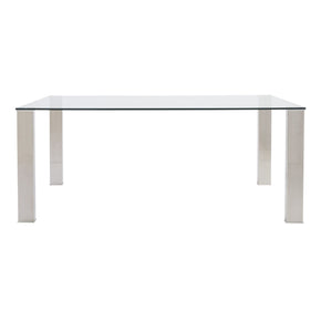 Beth Rectangle Dining Table With Clear Tempered Glass Top And Polished Stainless Steel Legs