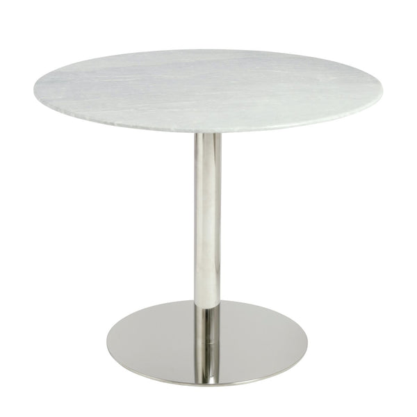 Tammy 37 Round Dining Table With Gray Marble Top And Polished Stainless Steel Base