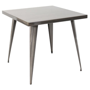 Austin Industrial Dining Table Brushed Silver