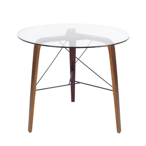 Trilogy Table Walnut Frame  Clear Glass Dining