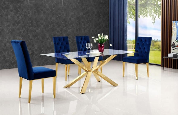 b3b856bc15cb Buy Meridian 716-T Capri Gold Glass Top Dining Table at Contemporary ...