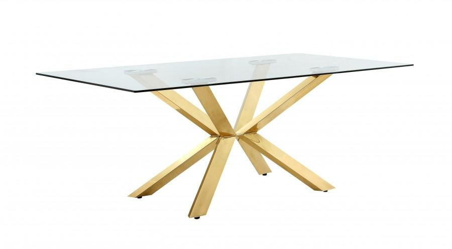 Buy Meridian 716 T Capri Gold Glass Top Dining Table At Contemporary