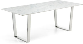 Dining Tables - Meridian 735-T Carlton Rectangular Chrome Dining Table Genuine Marble Top | 647899947278 | Only $734.80. Buy today at http://www.contemporaryfurniturewarehouse.com