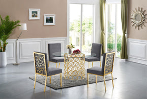 Opal Contemporary Round Gold Dining Table Glass 54