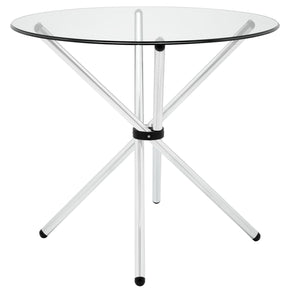 Baton Modern Round Dining Glass Table Clear