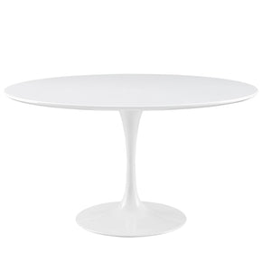Lippa 54 Round Wood Top Dining Table White