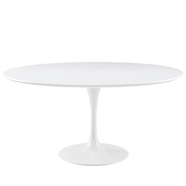 Lippa 60 Round Wood Top Dining Table White