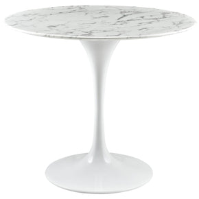 "Dining Tables - Modway EEI-1129-WHI Lippa 36"" Round Marble Dining Table 