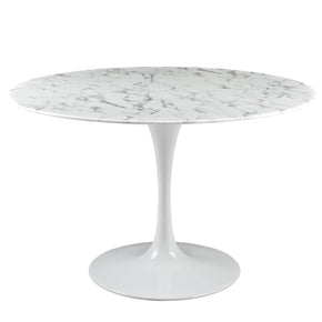 Lippa 47 Round Artificial Marble Dining Table White