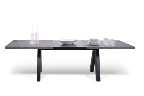 Apex Extending Dining Table Faux Concrete / Pure Black