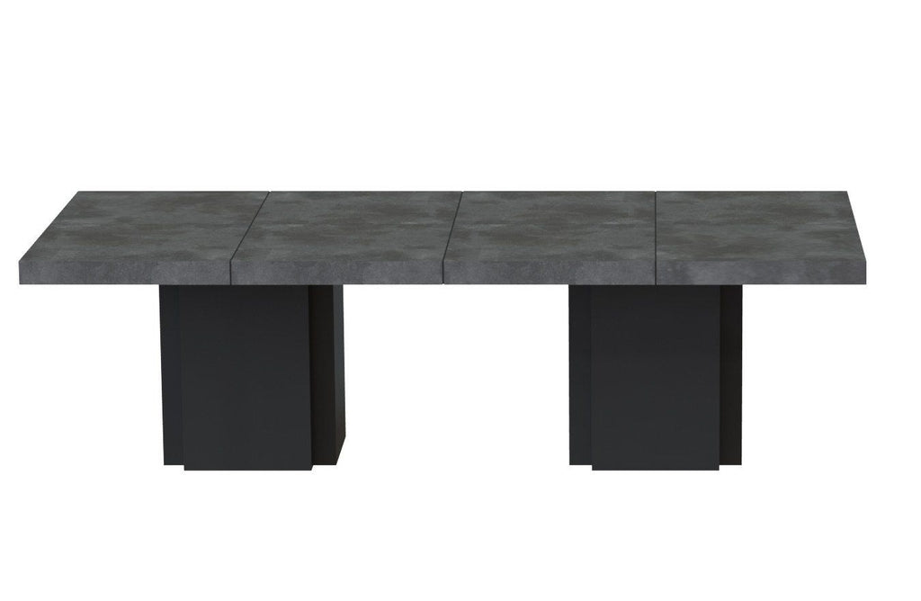 Dusk 2 - Set Of Two 51'' Tables Faux Concrete / Pure Black Dining Table