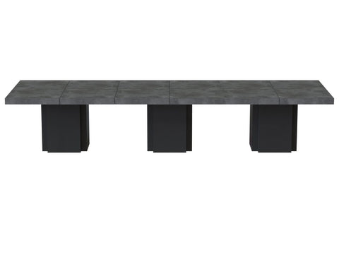Dusk 3 - Set Of Three 51'' Tables Faux Concrete / Pure Black Dining Table