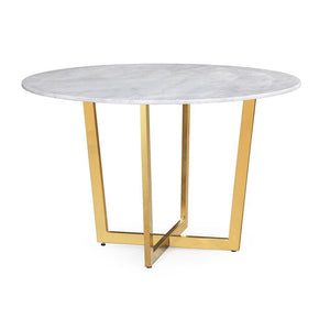Maxim Round White Marble / Gold Dining Table
