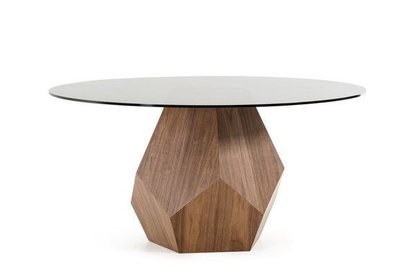 Modrest Rackham Modern Walnut Round Glass Dining Table 59\