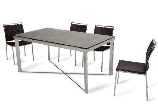 Modrest Santiago Modern Rectangular Wood Mosaic Dining Table