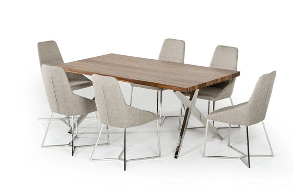 Modrest Stark Modern Walnut & Stainless Steel Dining Table by Vig ...