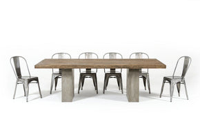 Modrest Renzo Modern Oak & Concrete Dining Table 71-118