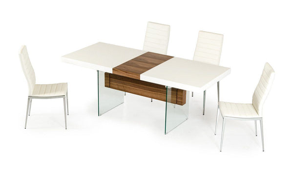 Modrest Sven Contemporary White Walnut Floating Extendable Dining Table