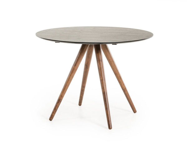 ... Modrest Tracer   Contemporary Black And Walnut Round Dining Table ...