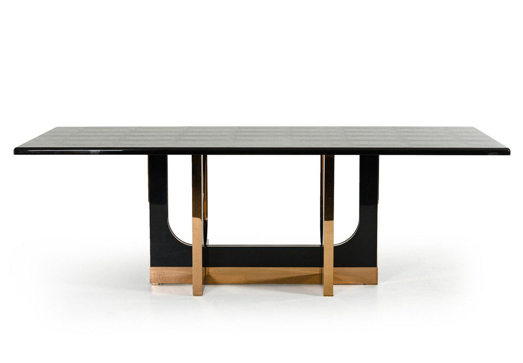 A X Padua Modern Large Black Gloss Crocodile Rose Gold Dining Table