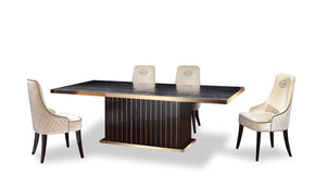 A&x Talin Modern Black Crocodile & Rose Gold Dining Table