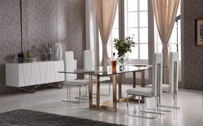 Dining Tables - Vig Furniture VGVCT8961-G Modrest Keaton Modern Glass & Brass Dining Table | 840729139793 | Only $1269.80. Buy today at http://www.contemporaryfurniturewarehouse.com