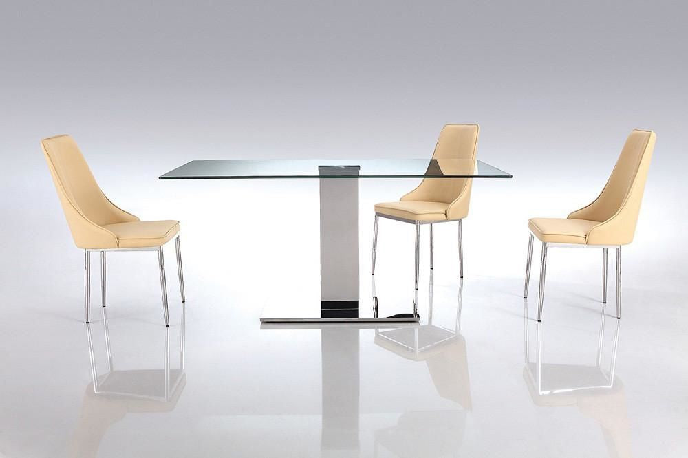 Buy Whiteline Dt1418 Genoa Dining Table With Clear Tempered Glass