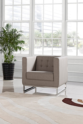 Vig Furniture VGMB-1400-CHR Divani Casa Dominic Modern Grey Fabric Lounge Chair