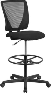 Ergonomic Mid-Back Mesh Drafting Chair With Black Fabric Seat And Adjustable Foot Ring