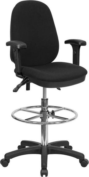 Black Multi Functional Ergonomic Drafting Chair With Adjustable Foot Ring  And Height Adjustable Arms
