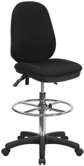Black Multi-Functional Ergonomic Drafting Chair With Adjustable Foot Ring