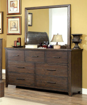 Tearson Transitional 7-Drawer Dresser And Mirror In Espresso