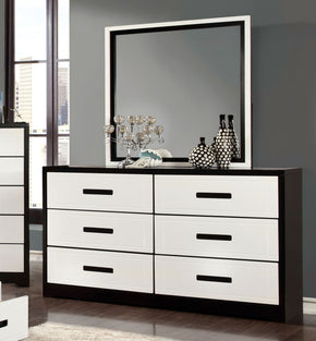 Burlings Modern 6 Drawer Dresser And Mirror In Black And White