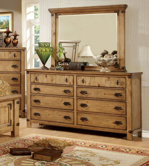 Mallon Country Style 8-Drawer Dresser In Weathered Elm