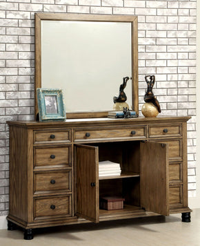 Lesko Industrial Multi-Drawer Dresser And Mirror In Dark Oak