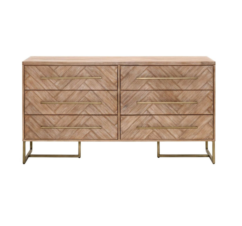 Beau Mosaic Stone Washed Double Dresser Brushed Gold ...