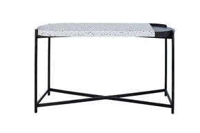 Vig Furniture VGLBDUO-CS120-01 Modrest Gemini Modern White Terrazzo Concrete & Black Metal Console Table