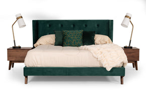 Vig Furniture VGMABR-83 Modrest Durango Modern Green Fabric & Walnut Bed