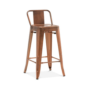 DesignLab MN LS-9102-COPLB Dreux Vintage Copper Low Back Steel Counter Stool 26 Inch (Set of 4) 646263991831