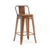Dreux Vintage Copper Low Back Steel Counter Stool 26 Inch (Set of 4)