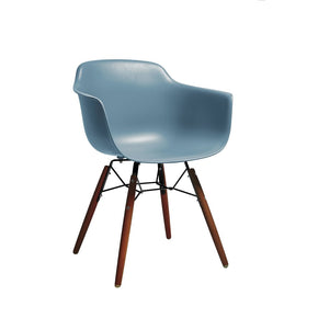 DesignLab MN LS-9341-SLAWAL Grazia Slate Mid Century Arm Chair Walnut Base Original Design (Set of 4) 646263991428