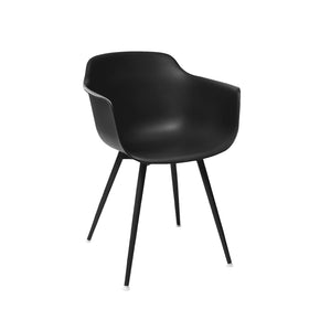 DesignLab MN LS-9343-BLKBLK Grazia Retro Black Mid Century Arm Chair Black Base Original Design (Set of 4) 655222620828