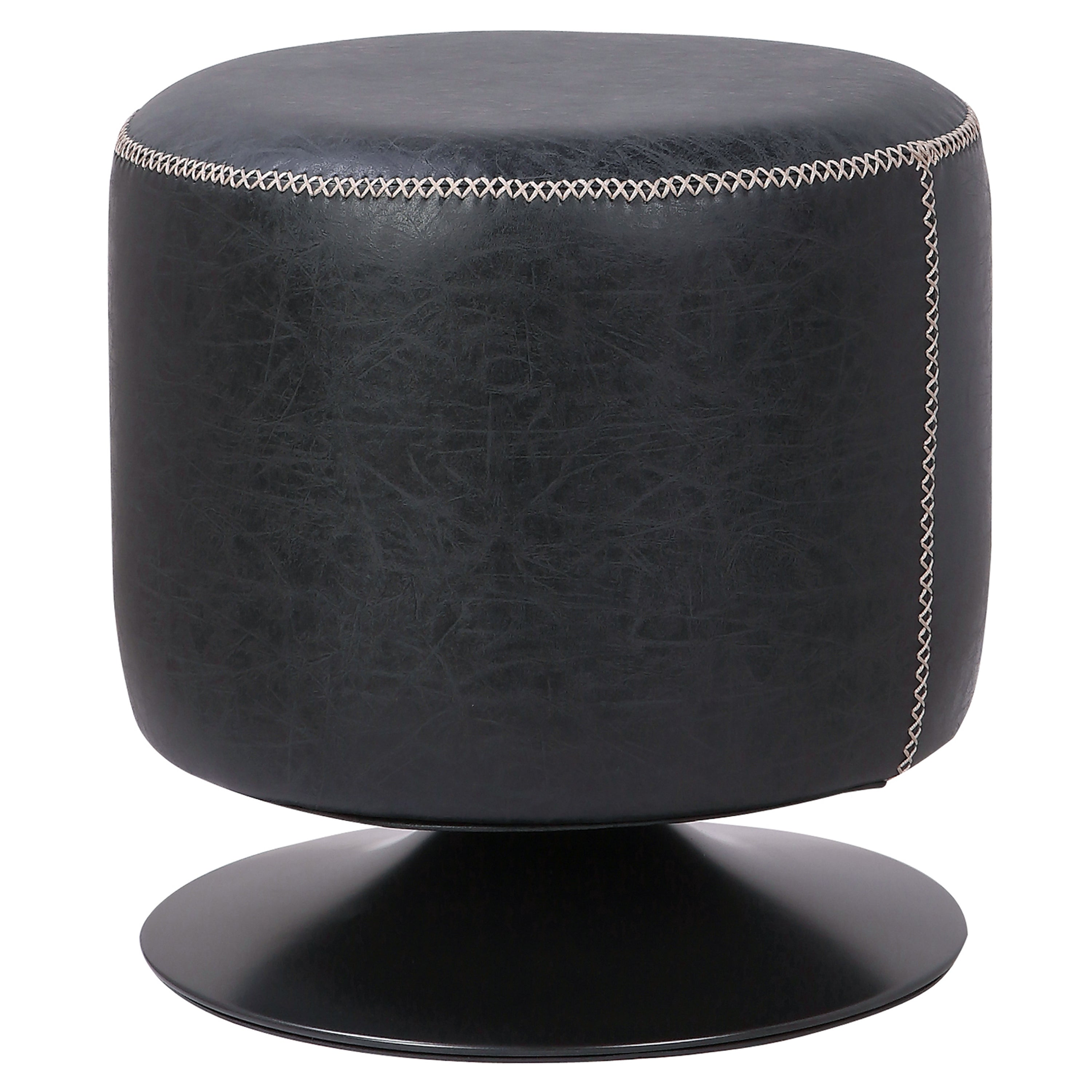 Awe Inspiring Buy New Pacific Direct 9300034 240 Gaia Pu Leather Round Ottoman Vintage Black At Contemporary Furniture Warehouse Beatyapartments Chair Design Images Beatyapartmentscom