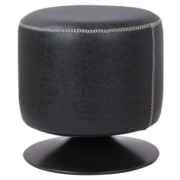 New Pacific Direct 9300034-240 Gaia PU Leather Round Ottoman Vintage Black