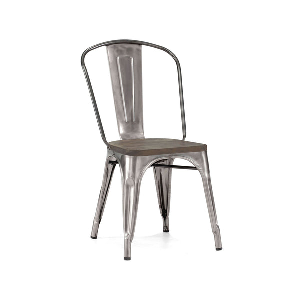 Dining Chairs - Design Lab MN LS-9000-2-GUNW Dreux Gunmetal Elm Wood Steel Stackable Side Chair (Set of 2) | 655222620477 | Only $164.80. Buy today at http://www.contemporaryfurniturewarehouse.com