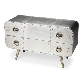 Midway Modern Industrial Rectangular Console Chest Silver Entertainment Stand