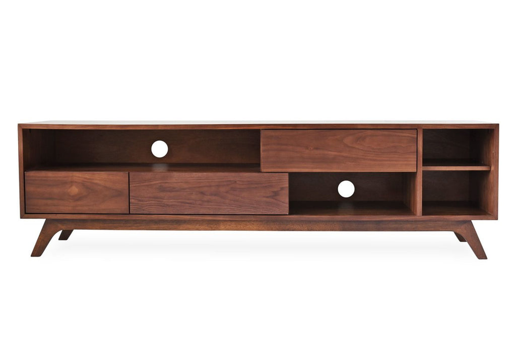 Monroe Mid-Century Modern Tv Stand Walnut Entertainment