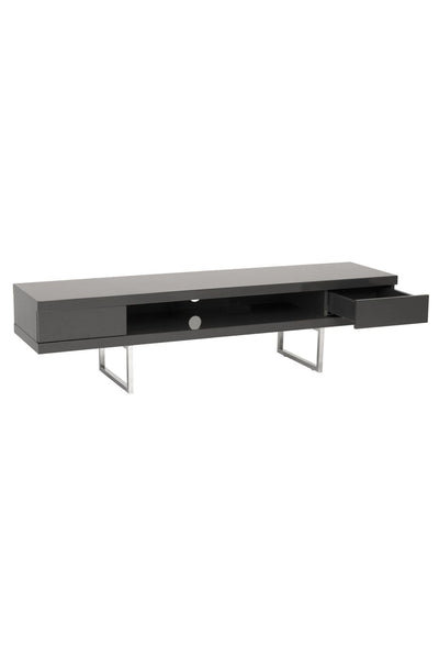Miranda Tv Stand In High Gloss Gray With Polished Stainless Steel Legs Entertainment